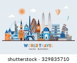 travel and tourism background.... | Shutterstock .eps vector #329835710