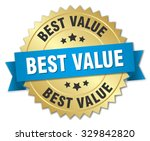 best value 3d gold badge with... | Shutterstock .eps vector #329842820