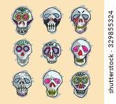 mexican sugar skulls  dia de... | Shutterstock .eps vector #329855324