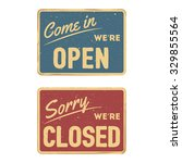 vintage sign open and closed... | Shutterstock .eps vector #329855564