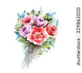 watercolor floral bouquet....   Shutterstock . vector #329862020