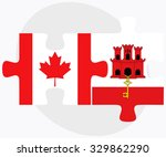 canada and gibraltar flags in... | Shutterstock .eps vector #329862290