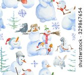 seamless christmas pattern with ... | Shutterstock . vector #329867654