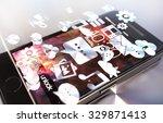 black smartphone with metallic... | Shutterstock . vector #329871413
