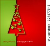 christmas tree paper background.... | Shutterstock . vector #329877548