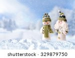 winter arrival concept with two ... | Shutterstock . vector #329879750