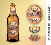 beer label and neck label on... | Shutterstock .eps vector #329882384