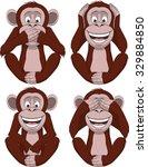 set of four monkeys | Shutterstock .eps vector #329884850