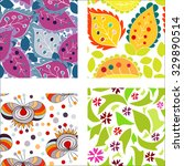 set of seamless patterns with... | Shutterstock .eps vector #329890514
