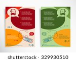 bus icon on abstract brochure... | Shutterstock .eps vector #329930510