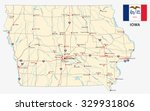 iowa road map with flag | Shutterstock .eps vector #329931806