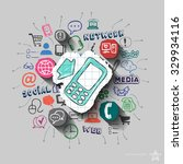 phone and collage with web... | Shutterstock .eps vector #329934116