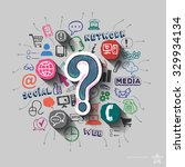 question mark and collage with... | Shutterstock .eps vector #329934134