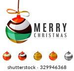 set of abstract christmas ball...   Shutterstock .eps vector #329946368