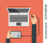 vector illustration of laptop... | Shutterstock .eps vector #329948948