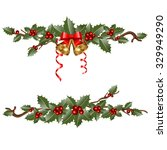 christmas garlands with ... | Shutterstock .eps vector #329949290