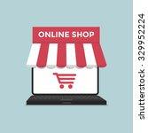 online shop on laptop | Shutterstock .eps vector #329952224