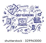 concept doodle of self learning ... | Shutterstock .eps vector #329963000