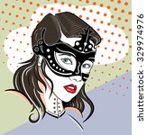 pin up girl in the mask | Shutterstock .eps vector #329974976
