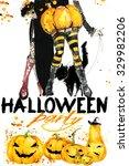 halloween witch watercolor... | Shutterstock . vector #329982206