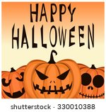 happy halloween greeting card.... | Shutterstock .eps vector #330010388