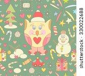 cute christmas seamless pattern ... | Shutterstock . vector #330022688