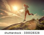 female running in mountains... | Shutterstock . vector #330028328
