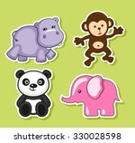 jungle animals icons set.... | Shutterstock .eps vector #330028598