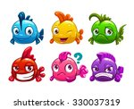 Cute Cartoon Colorful Fishes...