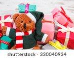 fluffy teddy bear and heap of... | Shutterstock . vector #330040934