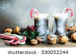 hot chocolate with a candy cane....   Shutterstock . vector #330052244