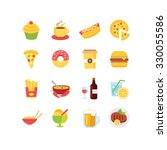 a set of food related icons ... | Shutterstock .eps vector #330055586