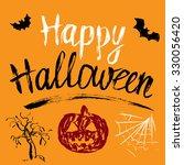 happy halloween hand drawn... | Shutterstock .eps vector #330056420