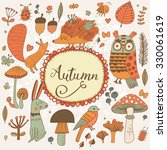 autumn concept forest card with ... | Shutterstock .eps vector #330061619