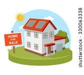 home for sale solar energy | Shutterstock .eps vector #330063338