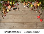 christmas wooden background | Shutterstock . vector #330084800