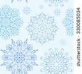 blue and white vector snowflake ... | Shutterstock .eps vector #330085034