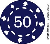 Blue Poker Chips With Number 50