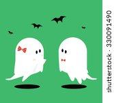 halloween ghosts and bats on... | Shutterstock .eps vector #330091490