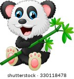 Cute Panda Cartoon Eating Bamboo