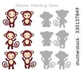 set of funny brown monkey... | Shutterstock .eps vector #330137849