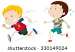 two boys running fast and slow... | Shutterstock .eps vector #330149024