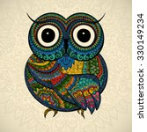 ornamental color owl with... | Shutterstock .eps vector #330149234