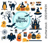 halloween icons set. vector... | Shutterstock .eps vector #330149654