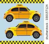 yellow  retro taxi. vector... | Shutterstock .eps vector #330157124