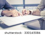 female hand signing contract. | Shutterstock . vector #330165086