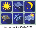 Set Of 6 Weather Icons  Flat...