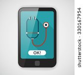 stethoscope flat icon with long ... | Shutterstock .eps vector #330167954