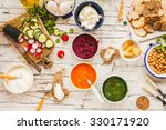 dinner food table. creamy... | Shutterstock . vector #330171920