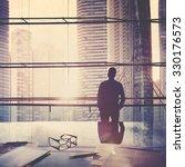 city scape businessman leader... | Shutterstock . vector #330176573